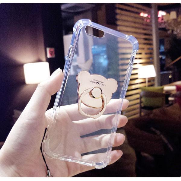 華碩 ZenFone Max Plus ZB570TL 空壓殼支架小熊 三件組 手機殼+指環支架+掛繩