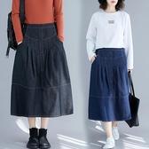 2020春夏新款大碼半身裙百搭胖妹妹洋氣減齡寬鬆顯瘦中長款牛仔裙