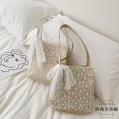 包包草編蕾絲單肩包手提包女士大容量水桶購物袋【時尚大衣櫥】