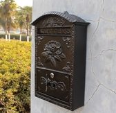 歐式鑄鋁工藝品壁掛式花開富貴信報箱郵箱黑色鐵藝信箱裝飾 莎拉嘿喲