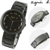 【萬年鐘錶】agnes b.法式簡約時尚風腕錶 IP鍍黑鋼帶 黑殼 黑面  金字 36mm VJ21-KJ50SD(BH8030X1)