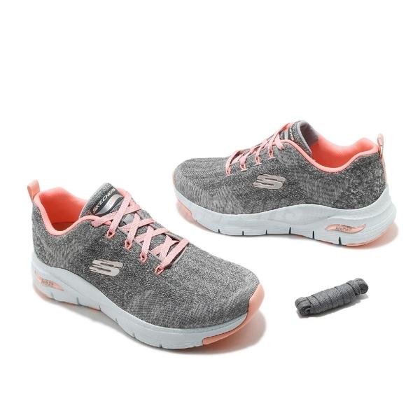 Skechers 健走鞋 Arch Fit-Comfy Wave Wide 寬楦 灰 粉 女鞋 足部支撐 醫師推薦 運動鞋 【ACS】 149414WGYPK