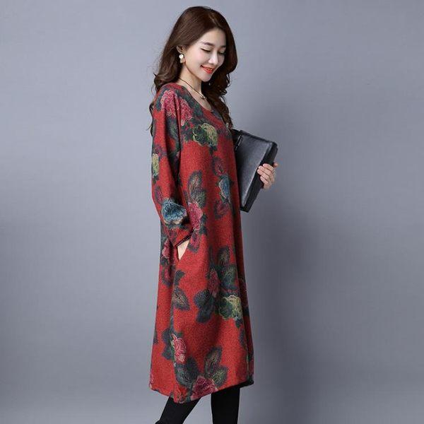 【免運】冬裝民族風寬鬆大尺碼復古印花長袖連身裙棉麻女裙洋裝 隨想曲
