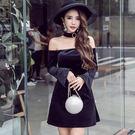 VK精品服飾 韓國名媛氣質掛脖釘珠一字領露肩喇叭袖長袖禮服裙長袖洋裝
