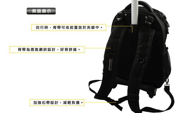 WALLABY 袋鼠牌【拉桿後背包-16吋-黑邊HTK-2670-16BK】高質感設計*保護性能佳*防水防塵防震