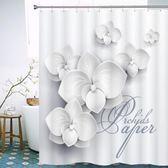 交換禮物 歐式花朵3D浴簾個性防水防霉加厚浴簾布浴室衛生間隔斷簾窗簾