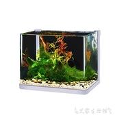 烏龜缸超白玻璃魚缸小型客廳桌面創意水族箱懶人水草缸造景金斗魚烏龜缸 艾家 LX