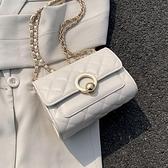 夏天洋氣小包包女包2021新款潮時尚鏈條菱格包百搭單肩斜背小方包 【端午節特惠】