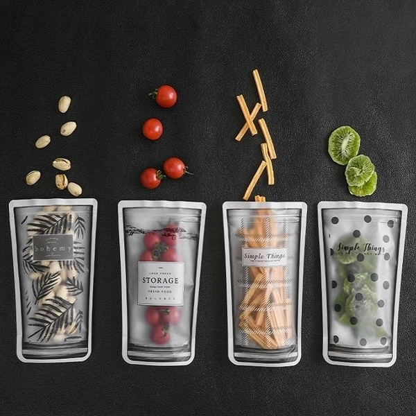 4入密封袋SG621 水杯型透明自封袋 廚房冰箱食品密封保鮮袋旅行便攜式分裝袋