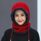 帽子女冬天韓版潮加絨毛線帽冬季保暖騎車針織帽包頭帽圍脖一體帽 coco