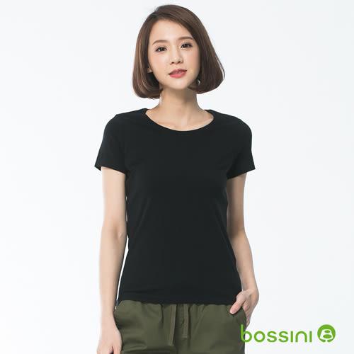素面彈性圓領T恤01黑-bossini女裝