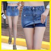 夏天高腰牛仔短褲韓版修身顯瘦學生牛仔褲裙女夏彈力大碼半身裙褲梗豆物語