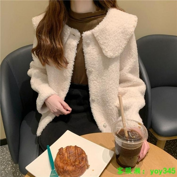 中大尺碼外套 單排扣外套女2020年秋冬新款白色甜美加厚毛絨絨上衣保暖長袖外衣