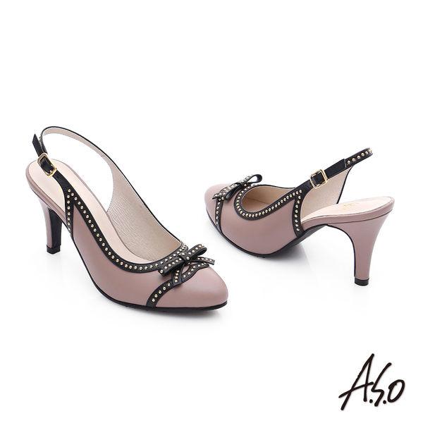 A.S.O 注目嬌點 真皮蝴蝶結鉚釘後空高跟鞋  藕粉