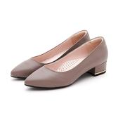MICHELLE PARK 時尚女伶 羊皮尖頭金屬鑲嵌粗低跟鞋-紫灰色