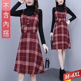 毛呢格子吊帶收腰洋裝 M~4XL【994545W】【現+預】-流行前線-
