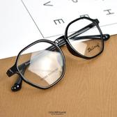 配眼鏡 不規則亮面細黑膠框NYA85