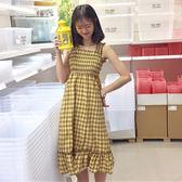 春夏女裝韓版學院風中長版高腰格子背心裙學生無袖連身裙洋裝顯瘦長裙 限時八五折 鉅惠兩天