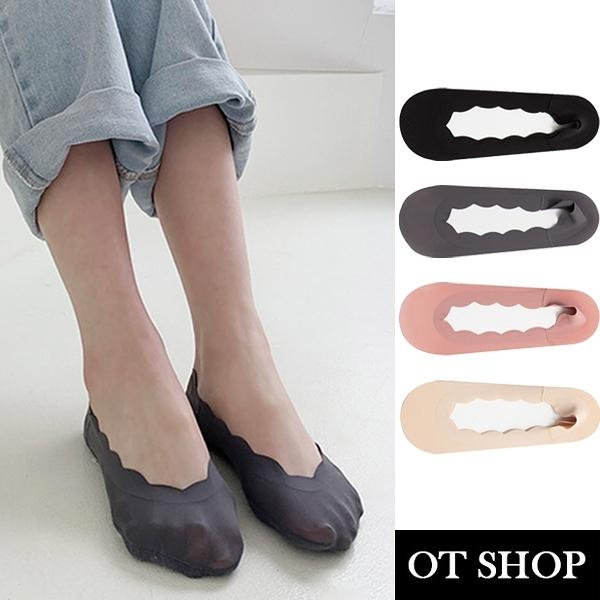 OT SHOP [現貨]襪子 隱形襪 淺口襪 女款 冰絲 素色 波浪邊 止滑矽膠 防滑棉質腳底 黑/灰/粉/膚 M1132