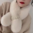 圍巾 毛毛領圍巾小圍脖冬季女護頸百搭可愛少女仿獺兔毛茸茸絨韓版保暖【快速出貨八折特惠】