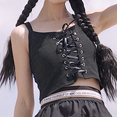 夏裝女裝正韓個性綁帶顯瘦修身彈力打底衫吊帶外穿短款小背心上衣 【ifashion·全店免運】
