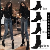高跟女鞋尖頭細跟短靴加絨彈力瘦瘦襪靴百搭單靴【毒家貨源】