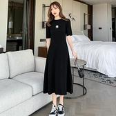 T恤連身裙女裝夏裝中長款韓版收腰顯瘦小黑裙休閒過膝長裙沙灘裙