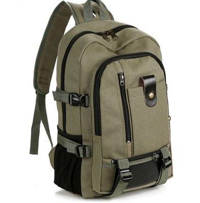 後背包 新款帆布大容量男士雙肩包旅行背包時尚潮男中大學生書包 99免運