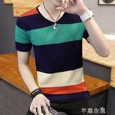 短袖T恤 夏季男士短袖T恤V領修身半截袖條紋小衫 個性夏天潮流上衣服 芊惠衣屋