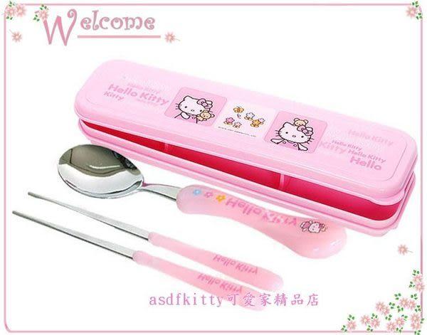 asdfkitty可愛家☆KITTY雲朵膠柄不鏽鋼筷子+湯匙+雙熊餐具盒/收納盒-韓國製