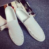 夏天男裝懶漢鞋無鞋帶男版懶人鞋平板一腳蹬布鞋條紋帆布豆豆鞋子  巴黎街頭