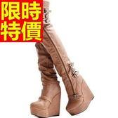 過膝馬靴-簡約清新皮革女長靴62l30[巴黎精品]
