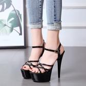 恨天高15cm超高跟鞋細跟涼鞋女夏防水台性感夜店模特走秀T台女鞋 流行花園