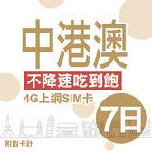 中港澳上網卡 7日 不限流量不降速 4G上網 吃到飽上網SIM卡