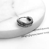 男生耳環 鋼製立體羽毛耳針ND783