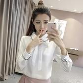襯衫新款秋裝白襯衫女設計感高級洋氣蝴蝶結娃娃領長袖雪紡上衣 快速出貨