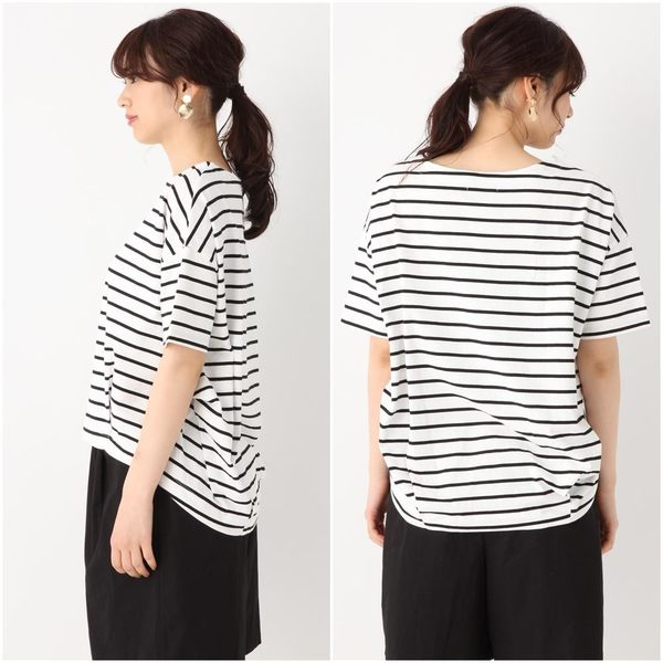 GLOBAL WORK女圓領落肩條紋百搭必備前短後長五分袖短袖T恤上衣-三色