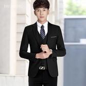 男士西服套裝青少年韓版修身小西裝三件套商務休閒西裝結婚正裝潮LX聖誕交換禮物