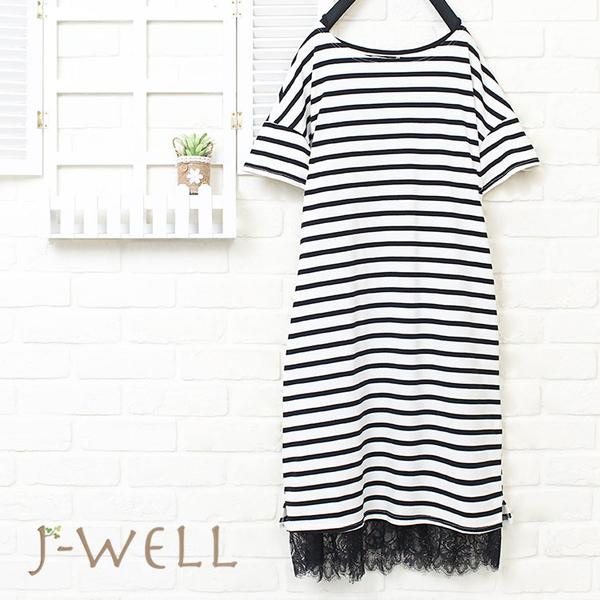 J-WELL 條紋洋裝內搭洋二件組(組合783 8J1431黑白條+8J1401黑)