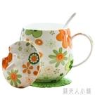 唐山產地骨瓷杯水杯家用帶蓋勺可愛女咖啡杯好看的馬克杯陶瓷杯子