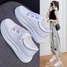 厚底鞋 魔術貼小白鞋新款女鞋百搭網紅鬆糕厚底休閒板鞋爆款透氣款 夏季新品