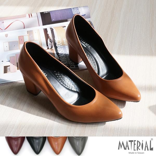 跟鞋 素面尖頭粗跟鞋 MA女鞋 T5100