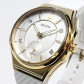 [萬年鐘錶]  BULOVA寶路華 晶鑽點綴女錶 象牙白斜紋錶面  橡膠帶 女錶  98R237