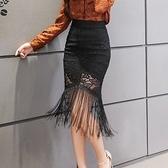 蕾絲裙(中長裙)-高腰彈力包臀流蘇女裙子2色73x18[巴黎精品]