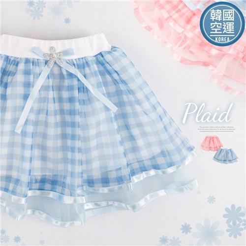 韓國童裝~粉夏格紋滾邊雪紡紗裙(有內裡)(250772)【水娃娃時尚童裝】