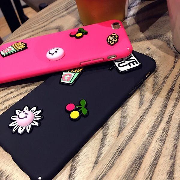 iPhone手機殼 韓國熱戀KISS手工DIY貼片徽章殼 磨砂硬殼全包 蘋果iPhone7/iPhone6手機殼