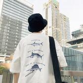 港風夏季新款個性小魚印花短袖T恤青少年五分袖男士帥氣正韓潮tee