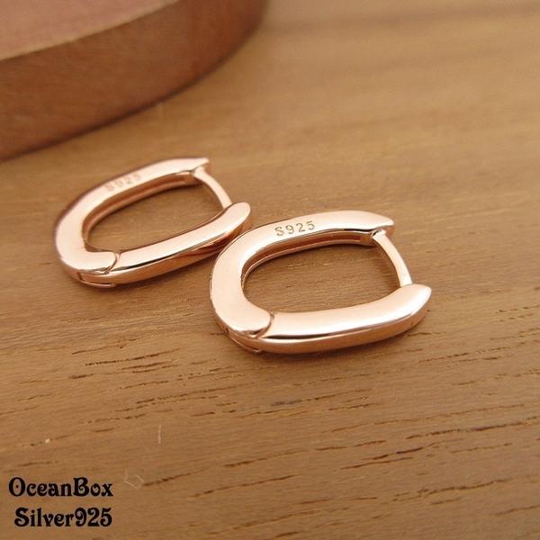 §海洋盒子§簡約質感.素面玫瑰金U型針式易扣925純銀耳環