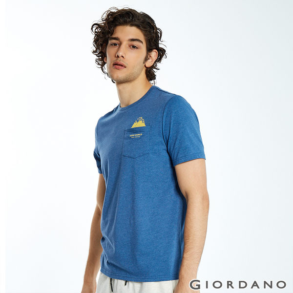 【GIORDANO】男裝DEAR WORLD 系列印花口袋T恤-53 雪花中靛藍