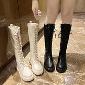 長靴 長筒靴女2020冬新款加絨白色騎士網紅瘦瘦過膝長靴馬丁靴高筒中筒 風馳